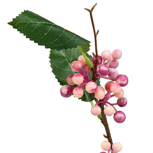 Branche de baies artificielles roses et mauves 64 cm 6 p.