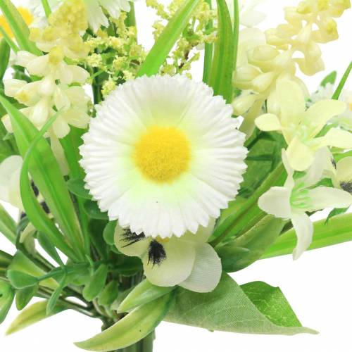 Bouquet de printemps avec pâquerettes et jacinthe Blanc, jaune 25cm