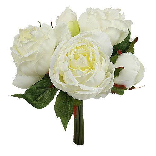 Bouquet de roses de Pentecôte blanc L 30 cm
