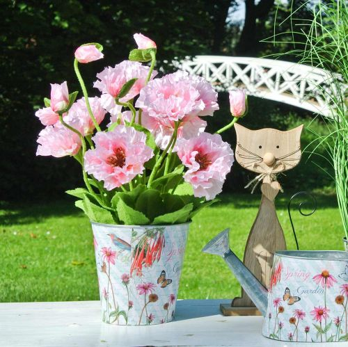 Pot de fleurs chapeaux de soleil en métal décoration printanière jardinière Ø11,5cm H10,5cm
