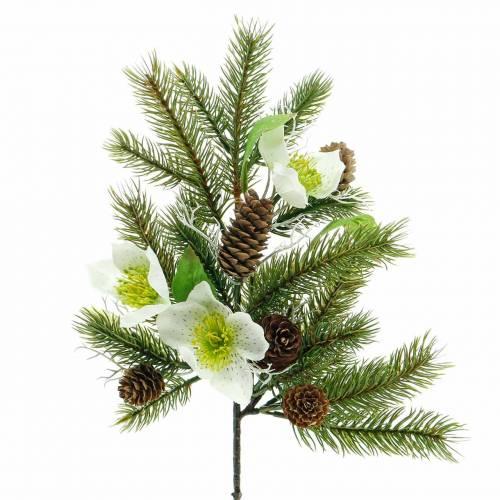 Branche de sapin artificielle avec roses de Noël et cônes L36cm
