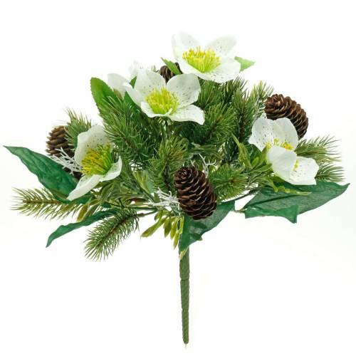 Bouquet de roses de Noël artificielles avec sapin et cônes H26cm