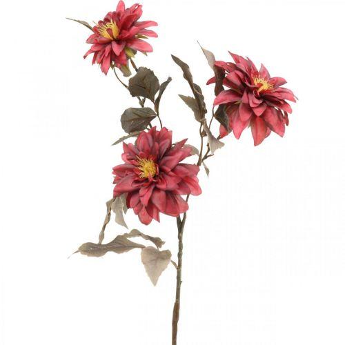 Fleur artificielle dahlia rouge, fleur de soie automne 72cm Ø9 / 11cm
