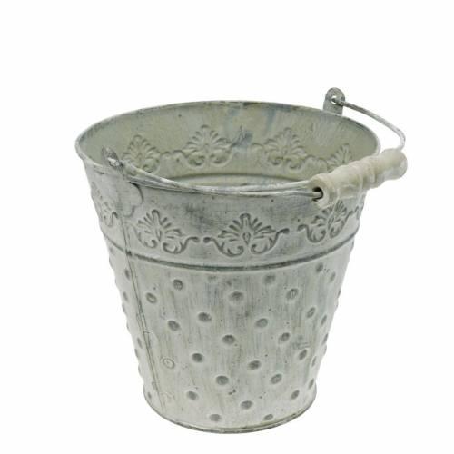 Jardinière seau décorative à pois métal vert Ø15,5cm lavé blanc
