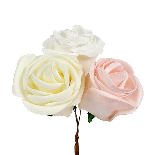 Lot de roses décoratives blanc/crème/rose Ø 7,5 cm 12 p.