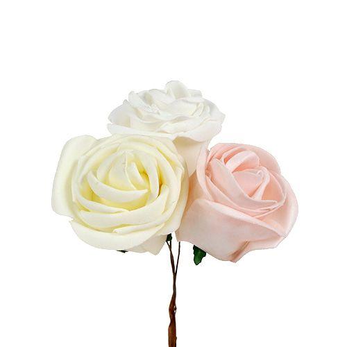 Mélange de roses décoratives Ø 6 cm 24 p., blanc/crème/rose