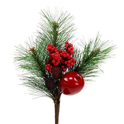 Branche de pin déco avec pomme 28cm 1pc