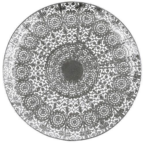 Assiette décorative argent à motif Ø 35 cm