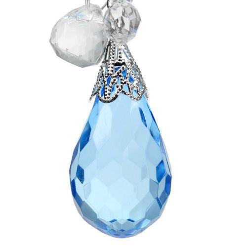 Attache décorative argent, bleu L. 23 cm