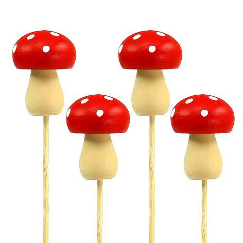 Pique décorative amanite tue-mouches rouge 3,5 cm L. 30 cm 12 p.