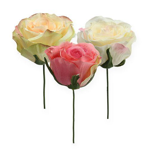 Boutons de rose artificiels rouge Ø 9 cm 6 ex.