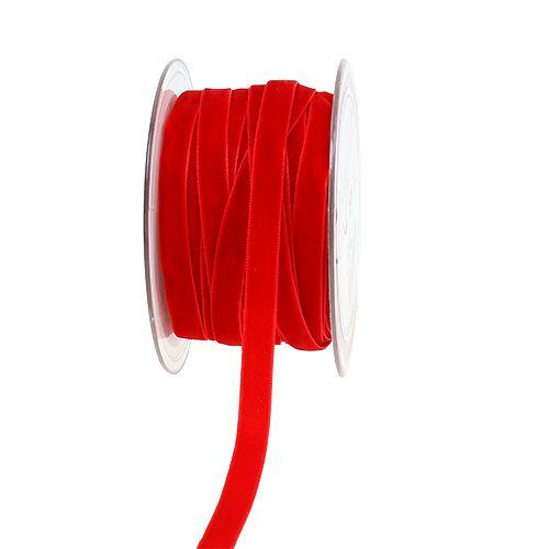 Ruban décoratif Velours rouge 10mm 20m