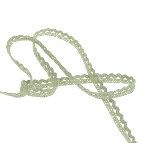 Ruban décoratif dentelle 9 mm 20 m gris-vert