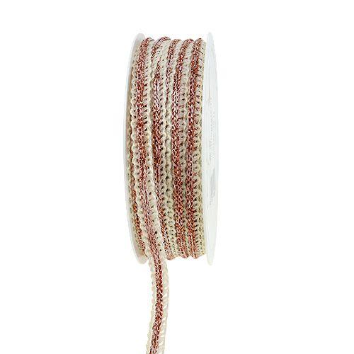 ruban décoratif crème étroite avec fil 8mm 15m