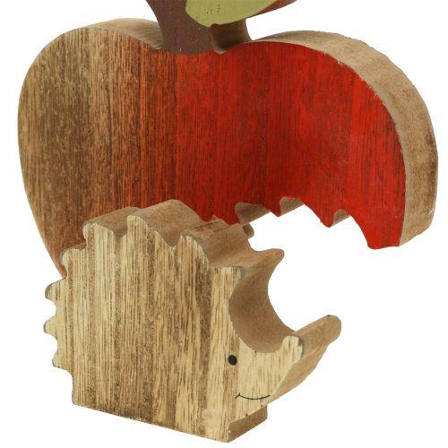 Figurine décorative pomme avec hérisson rouge 13 cm 3 p.