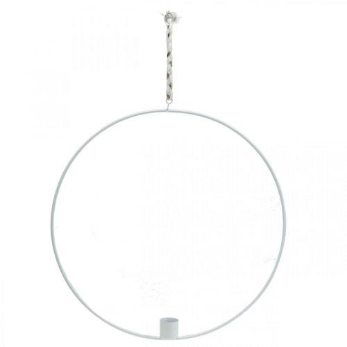 Bougeoir à suspendre anneau décoratif métal blanc Ø28.5cm 3pcs