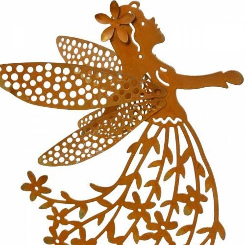 Bouchon décoratif elfe fleur, ressort, décoration métal, fée sur bâton, patine