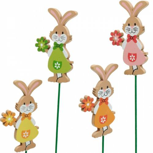 Bouchon décoratif lapin de Pâques avec fleur Décoration de Pâques lapins en bois sur bâton 24pcs