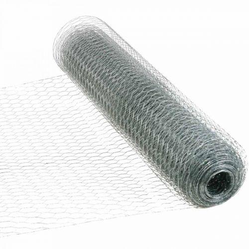 Fil de tresse hexagonale, galvanisé argent, fil de lapin 50cm × 10m