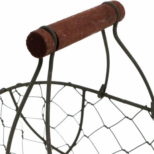 Corbeille en fil ovale avec anse gris 17 × 11cm H15cm
