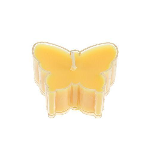 Bougie chauffe-plat parfumée papillon Ø 4,8 cm H. 2 cm jaune 6 p.