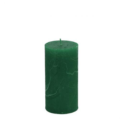 Bougies de couleur unie vert foncé 50x100mm 4pcs