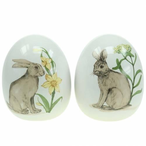 Oeuf en céramique blanc motif lapin Ø12,5cm H16cm 2pcs