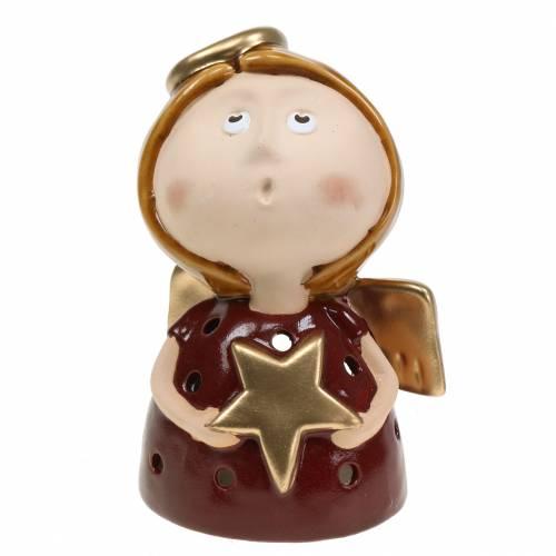 Bougeoir ange en céramique avec étoile H17cm