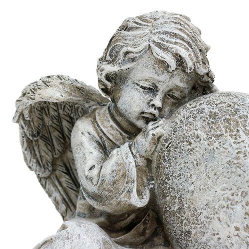 Ange avec coeur gris 11,5cm × 9cm × 6,5cm 2pcs