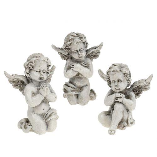 Chiffres d'ange gris 9cm 3pcs
