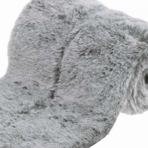 Ruban décoratif fourrure fausse fourrure grise pour décoration de table artisanat 15×150cm