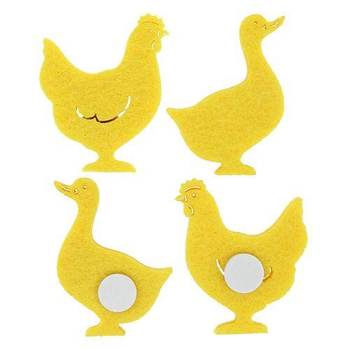 Canard/poulet de feutre autocollant jaune 96 P.