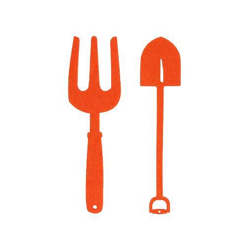 Outils de jardin en feutrine orange 6 p.