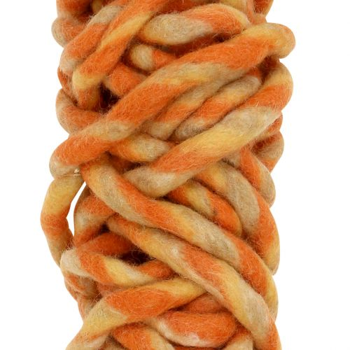 Ficelle de feutrine 25 m orange, jaune, brune