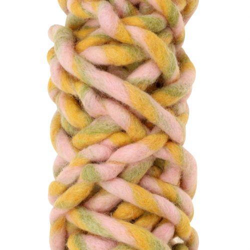 Ficelle de feutrine 25 m rose, jaune, verte