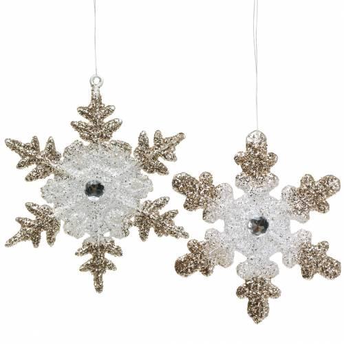 Ornements Flocon de neige Glitter Pearl 2pcs