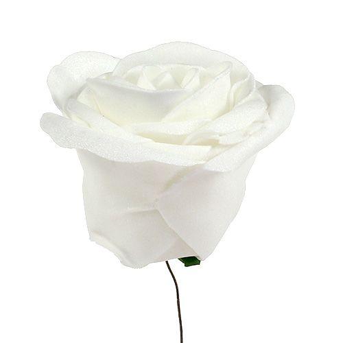 Rose en mousse blanche avec nacre Ø 7,5 cm 12 p.