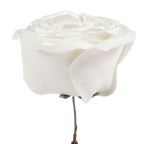 Rose en mousse blanche avec nacre Ø 10 cm 6 p.