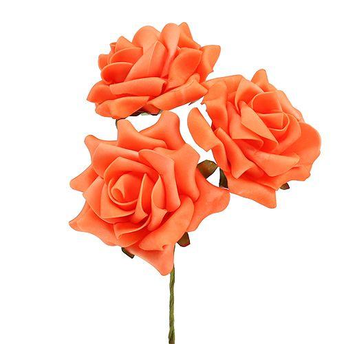 Rose en foam Ø 10  cm orange 8 ex.