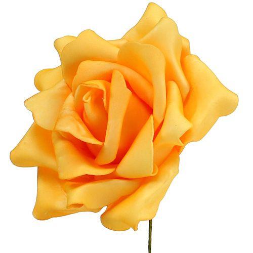 Rose en foam Ø 15 cm jaune 4 ex.
