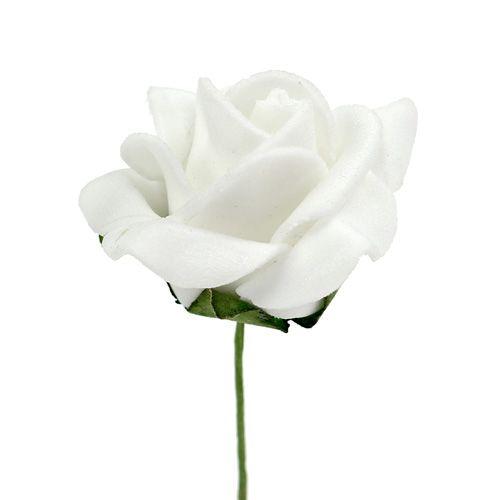 Rose en foam Ø 3,5 cm blanc 48 ex.