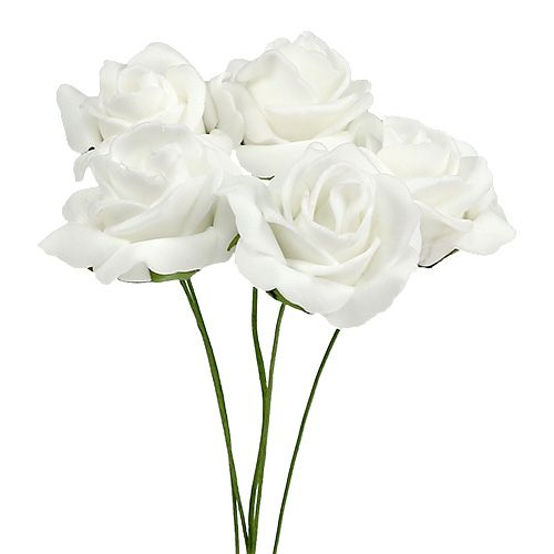 Rose en foam Ø 4 cm blanc 36 ex.