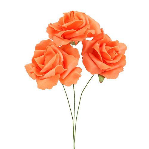 Rose en foam Ø 6  cm orange 27 ex.