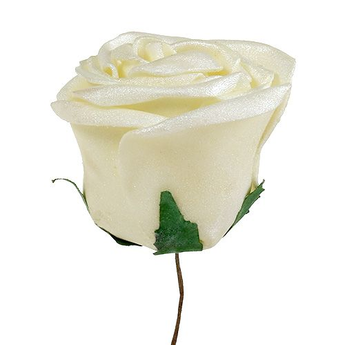 Rose en mousse avec nacre Ø 7,5 cm  blanc crème rose 12 p.