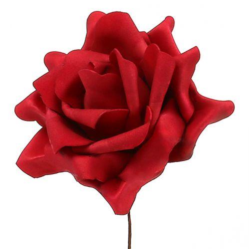 Rose en foam en mousse rouge Ø 15 cm 4 ex.