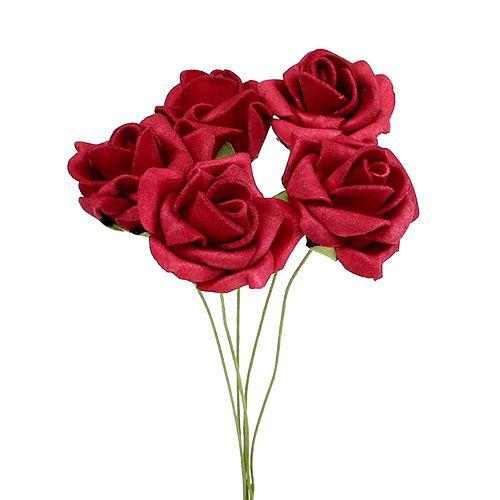 Rose en foam rouge Ø 4 cm 48 ex.