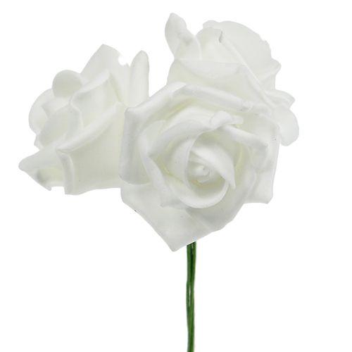 Rose en foam blanc 10 cm 8 ex.