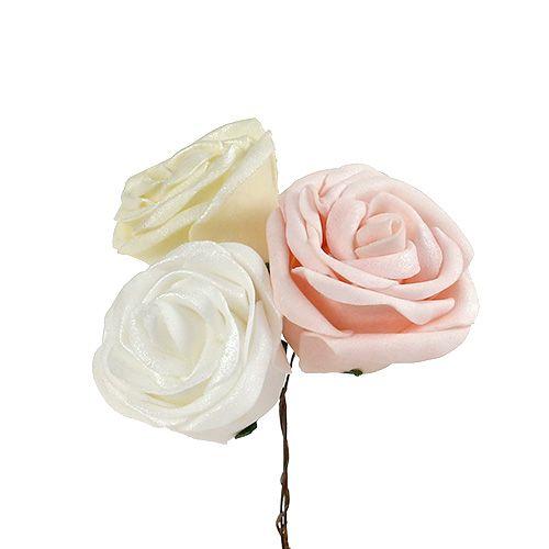 Mélange de roses en mousse nacrée Ø 6 cm, blanc crème rose 24 p.