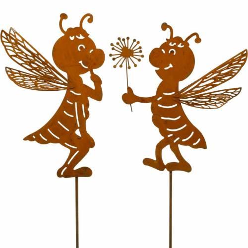 Bouchon de jardin abeille décoration de jardin en acier inoxydable décoration de printemps 2 pièces
