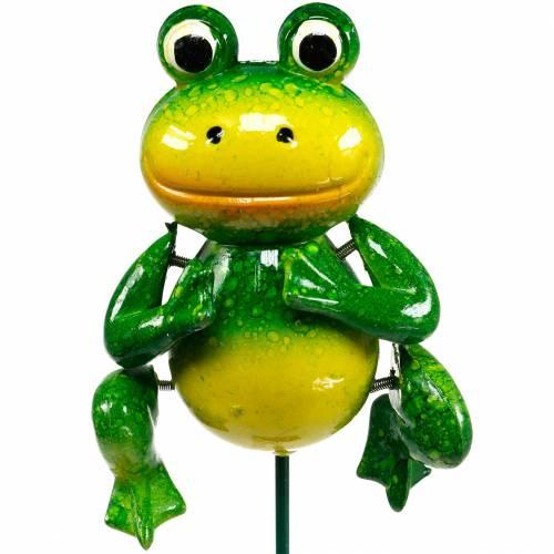 Bouchon décoratif grenouille sauteuse à ressorts métalliques vert, jaune H65,5cm